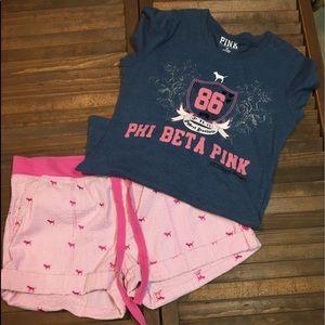 Victoria's Secret T-Shirt M and Shorts Sz 10